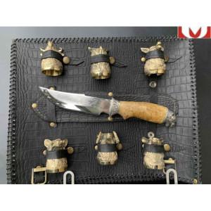 Решетка для барбекю Волк с ножом и рюмками
